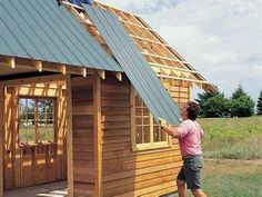 Shed Plans - Order Cut-to-Length Steel Roof Panels - DIY Storage Shed Building Tips: www. Now You Can Build ANY Shed In A Weekend Even If You've Zero Woodworking Experience! Steel Roof Panels, Metal Roof, Metal Bar, Backyard Sheds, Outdoor Sheds, Garden Sheds, Outdoor Gardens, Backyard Buildings, Outdoor Rooms