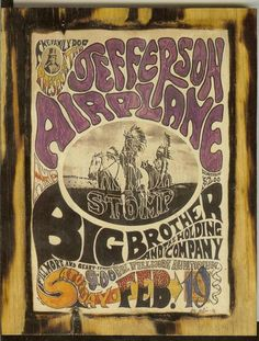 Jefferson Airplane Concert Poster, 1966 - it' from the Fillmore in San Francisco (not Fillmore East)