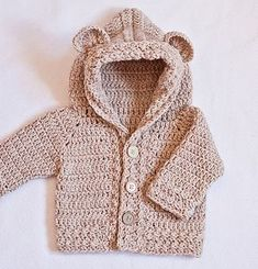 This is a PATTERN for crocheted Bear Hooded Cardigan! Price is for pattern only, not for the finished item.