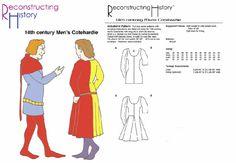 RC022 - patron de couture Cotehardie 14ème siècle de l'homme en reconstruisant l'histoire