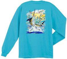 Guy Harvey Shirts - Guy Harvey Island Marlin Back-Print Men's Long Sleeve Tee in Yellow or Aqua, $24.00 (http://www.guyharveyshirts.com/guy-harvey-island-marlin-back-print-mens-long-sleeve-tee-in-yellow-or-aqua/)