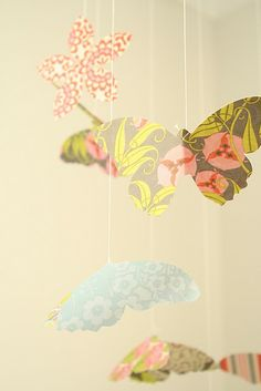 patterned paper mobile