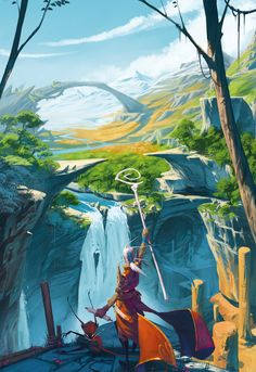 """illustration for the card game """"seasons"""" (libellud/ asmodee) [link] SEASONS (cover) Concept Art Landscape, Fantasy Art Landscapes, Fantasy Landscape, Fantasy Artwork, Landscape Art, Environment Concept, Environment Design, Art Environnemental, Fantasy Places"""