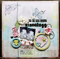 Baby collage scrapbook layout. Cute for twins.