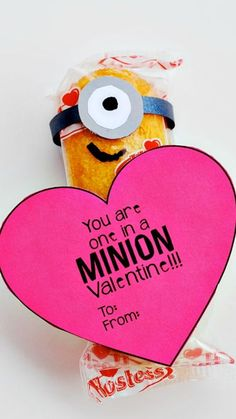 """DIY Easy Printable Minion Heart Valentine """"You are One in a Minion Valentine"""" ~ Minion Twinkies... These are perfect to give to classmates, friends and kids.:"""