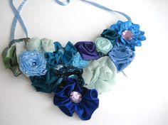 Blue tones Handmade Floral Garden Statement Bib Fabric Necklace. $45.00, via Etsy.