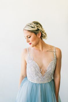 Blue Wedding Gown by Hailey Paige and Chantel Lauren Designs at Malibu Beach Wedding | Jenna Bechtholt Photography