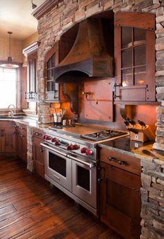 brilliant Rustic Farmhouse Kitchen Island Ideas - Page 11 of 25 Farmhouse Kitchen Island, Refacing Kitchen Cabinets, Rustic Kitchen Design, Farmhouse Kitchen Cabinets, Rustic Farmhouse, Rustic Tiles, Cabinet Refacing, Farmhouse Ideas, Kitchen Shelves