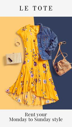 Women Clothing Styles – Shop Without Clutter – Best Puzzles, Games, Ideas & Floral Dress Outfits, Yellow Floral Dress, Dresses, Look Fashion, Fashion Outfits, Womens Fashion, Latest Fashion, Fashion Trends, Casual Work Outfits