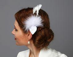 Herziges Weiß Brautschmuck Fascinator Federn