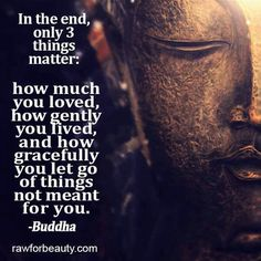 In the end, only three things matter: how much you loved,                        How gently you lived, and how gracefully you let go of things not meant for you