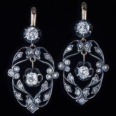 antique old mine cut diamond openwork earrings