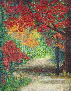 Come Walk With Me - New and Improved, lol. Pieced landscape quilt, fall scene.