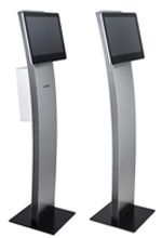 Digital Elegance Stand - Elegant and stable stand for displays / AIO systems, Optional integrated receipt printer, Front and rear stainless steel casing. Kiosk, Digital Signage Displays, Printer, Stainless Steel, Content, Marketing, Elegant, Design, Classy