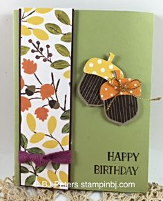 Acorny thank you, Into the Woods, Stampin' Up!, BJ Peters, Tin of Cards