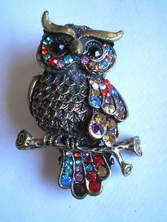 GORGEOUS VINTAGE STYLE MULTICOLOR RHINESTONE OWL BROOCH PIN on eBay!