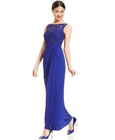 R&M Richards Sequin Illusion Lace Gown - Dresses - Women - Macy's 108.00