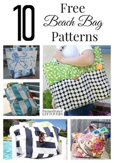 10 Free Beach Bag Patterns including small beach tote bags, free patterns for beach totes, easy beach tote patterns and mesh beach bag patterns.