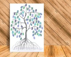 Instant Download Fingerprint Tree Mangrove decoration Fingerprint Art, Ink Color, Best Memories, Party Printables, Creative Art, Wedding Decorations, Birthday Parties, This Or That Questions, Drawings