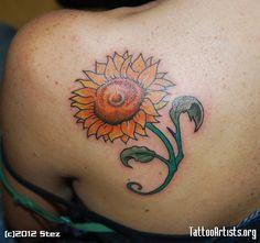 Sunflower Back Tattoos | 602 x 564 px (297 KB)