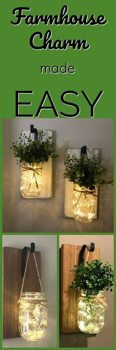 I love the addition of the twinkle lights for warmth. Stunning Wall Sconce, Wall Decor, Home Decor, Mason Jar Sconce, Wall Sconce, Lighted Sconce, Greenery, Mason Jar Decor, Rustic Wall Decor #ad