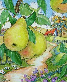"""Remembering Mamaws Pear Jam Storybook Cottage Series"" - Original Fine Art for Sale - © Alida Akers"