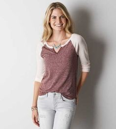 AEO Split Neck Baseball T-Shirt - Buy One Get One 50% Off
