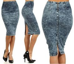 PLUS SIZE ACID WASH HIGH WAIST PENCIL DENIM JEAN MIDI SKIRT DARK BLUE 1X 2X 3X  I want this skirt!!