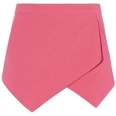 Pink Crepe Wrap Skort (190 ARS) ❤ liked on Polyvore featuring skirts, mini skirts, bottoms, shorts, faldas, pink wrap skirt, wrap skirt, pink skirt, summer skirts and wrap skort