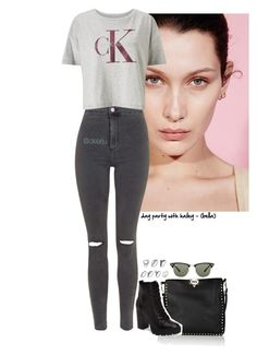"""Day Party with Hailey (Bella)"" by dearju on Polyvore featuring moda, Valentino, Topshop, Steve Madden, Calvin Klein e Ray-Ban"