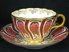 Antique Cauldon Fully HP Hot Pink Gold Split Handle Tea Cup and Saucer Tea Cup Set, Tea Cup Saucer, Tea Sets, China Cups And Saucers, China Tea Cups, Tea And Crumpets, Pink Cups, Antique Tea Cups, My Tea