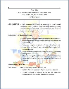 bartender resume example chef resume sample job resume layout free sample resumes - How To Write A Bartender Resume