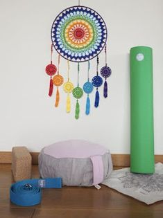 This Chakra dream catcher is made with crocheted cotton lace doily. I placed the lace Rainbow doily on the wire hoop, wh Mini Mandala, Motif Mandala Crochet, Dreamcatcher Crochet, Crochet Feather, Yoga Dekor, Art Chakra, Dream Catcher Craft, Art Mural, Wall Art