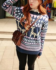 Deer And Geometric Patterns Print Pink Woolen Sweater ST1790004-1