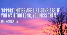 Opportunities are like sunrises. If you wait too long, you miss them. Good Morning Have a Beautiful Day