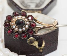 Antique C. 1880 Victorian 14k Gold Seed Pearl Bohemian Garnet Stick Pin Brooch! in Jewelry & Watches, Vintage & Antique Jewelry, Fine, Victorian, Edwardian 1837-1910, Pins, Brooches | eBay