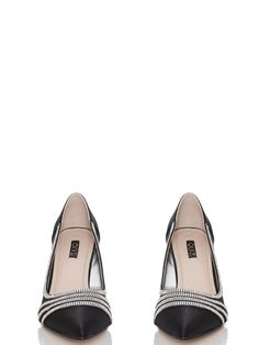 Black Satin Diamante Low Heel Court Shoes