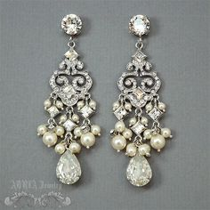 Chandelier Bridal EarringsIvory Pearl Bridal by adriajewelry, $65.00