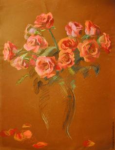 Купить Картина пастелью Розы - рыжий, алый, розы, розы в вазе, натюрморт, картина