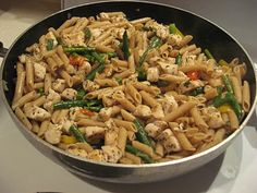 Chicken Penne Pasta with Asparagus and Peppers - Thriving Home