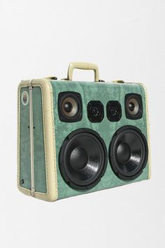 BoomCase Moss Boss Speaker -- one-of-a-kind speaker crafted from an authentic vintage suitcase. Hook it up to any music source! #urbanoutfitters