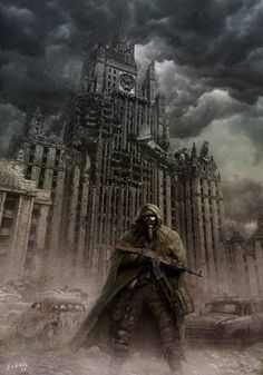 """Science Fiction Art, """"Nuclear anniversary"""" by Lobzov on DeviantArt. Nuclear Apocalypse, Apocalypse World, Apocalypse Art, Apocalypse Survival, Nuclear War, Post Apocalyptic Art, Post Apocalyptic Fashion, Fallout, Aztecas Art"""