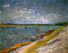 View Of A River With Rowing Boats, Vincent van Gogh. Oil on canvas, 52.0 x 65.0 cm. Paris, Spring 1887, Private Collection.