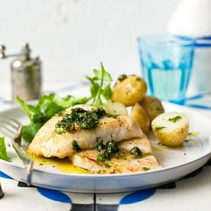 There's plenty of this #fish in the sea. So why not have baked #hake fillets with salsa verde for dinner? #seafood #recipe