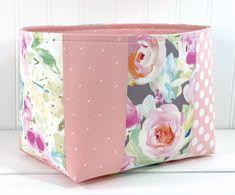 Floral Watercolor, Diaper Bag, Organizer Bins, Fabric Storage Baskets, Pink Dot, Baby Girl Nursery Decor, Blush Pink, House Warming, Layers