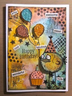 "Here's one of my ""Bird Crazy"" birthday cards..."