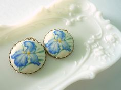 Iris blue earrings. Large blue and yellow flower by minusOne, $20.00