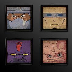 Shredder Krang Foot Soldier TMNT Teenage Mutant Ninja Turtle Print Set of 4 - Nursery - classic - 1988 Print - Set of Four Nursery Prints