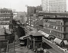 Wabash Ave. with trains, Chicago, c1907, Vintage Photo
