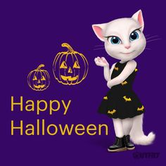 TRICK or TREAT? I need all the candy!!! xo, Talking Angela #TalkingAngela #MyTalkingAngela #LittleKitties #scary #Halloween #trickortreat #candy #pumpkin #costume #party